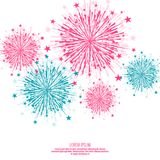 Vector firework design. Vector firework design on white background with scattered stars and sparkles. Bright festive decoration Stock Photos