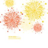Vector firework design. Vector firework design on white background with scattered stars and sparkles. Bright festive decoration Stock Photography
