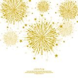 Vector firework design. Vector firework design on white background with scattered stars and sparkles. Bright festive decoration Royalty Free Stock Image