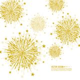 Vector firework design. Vector firework design on white background with scattered stars and sparkles. Bright festive decoration Royalty Free Stock Photo