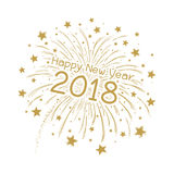 Vector firework with happy new year 2018. On white background Royalty Free Stock Photos