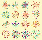 Vector firework icons celebration holiday event night new year fire festival explosion illustration. Light festive party. Fun birthday fire sparkle bright Stock Image