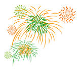 Vector firework independence day isolated on white background. With copy space Royalty Free Stock Images