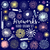 Vector firework, salute set isolated. Festive fireworks. Illustration Stock Images