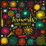 Vector firework, salute set isolated. Festive fireworks. Illustration Royalty Free Stock Images