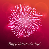 Vector firework for valentines day. Vector holiday valentine`s day firework. Splash of shining hearts on stylish background with hotspots and sparkles. For Royalty Free Stock Photography