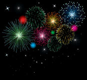 Vector fireworks. Background with stars and lights Stock Photography