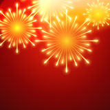 Vector fireworks. Beautiful vector fireworks on red background royalty free illustration