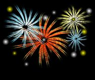 Vector fireworks. Vector illustration of fireworks in the night sky the new year Royalty Free Stock Photos