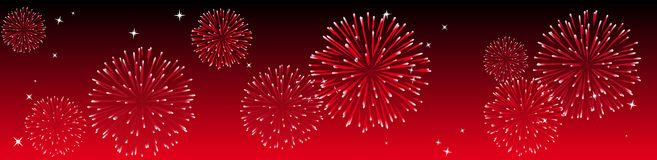 Vector fireworks. Abstract vector illustration of fireworks in the sky in red Royalty Free Stock Photo