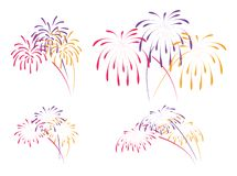Vector fireworks background. For christmas, 4th of july, carnival and holiday illustrations. colorful bonfire firework night stock illustration