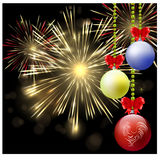 Vector fireworks background. Festive Christmas background with Christmas balls and red bows.Christmas background Stock Images