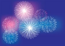 Vector Fireworks Background 4th of July, New Years, Christmas colorful background. Vector illustration of fireworks 4th of July, New Years, Christmas colorful Royalty Free Stock Photo