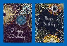 Vector fireworks birthday card templates. Illustration of celebration party and holiday, firework festive bright Stock Photo