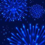 Vector fireworks on blue background. Vector fireworks on blue celebrate background Stock Photography