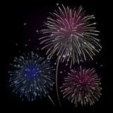 Vector fireworks - blue and red. Vector fireworks, good for dark backgrounds Stock Photography