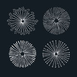 Vector fireworks elements. Hand drawn illustrations Stock Photo