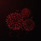 Vector  Fireworks. Vector Red Fireworks Background on dark Royalty Free Stock Images