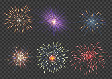 Vector fireworks set. Event, sparkle and star, pyrotechnic and petard illustration Stock Images