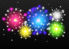 Vector Fireworks Set with transparency. Colorful template. Royalty Free Stock Photography