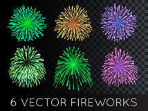 Vector Fireworks Set with transparency. EPS 10 Royalty Free Stock Photo