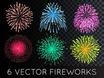 Vector Fireworks Set with transparency Stock Image