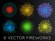 Vector Fireworks Set with transparency Royalty Free Stock Images