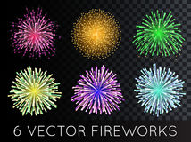 Vector Fireworks Set with transparency Royalty Free Stock Photography