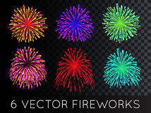 Vector Fireworks Set with transparency. EPS 10 Royalty Free Stock Photography