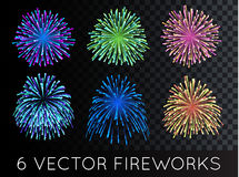 Vector Fireworks Set with transparency Stock Images