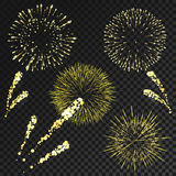 Vector fireworks set in various shapes isolated. On black transparent background Stock Photography