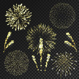 Vector fireworks set in various shapes isolated. On black transparent background Stock Image