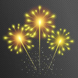 vector fireworks on transparent background. Yellow glowing light glitter effect. Sparkler texture Stock Photos