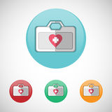Vector first aid kit vector icon set. First aid kit. Emergency kit. Healthcare. Digital background medical vector icon set isolated on colorful round buttons Royalty Free Stock Image