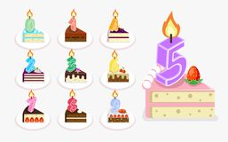 Vector first birthday cake with candle Royalty Free Stock Images