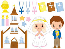 VECTOR FIRST COMMUNION SET Stock Photo