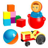 Vector first toys. set 3. Vector first toys - tilting doll, ball, bricks, tractor Stock Image