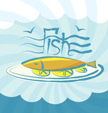 Vector Fish. With calligraphic inscription and aroma Stock Images