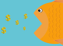Vector - a fish eat dollars icon. & x28; business concept & x29 Royalty Free Stock Image