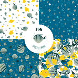 Vector fish pattern set Stock Images