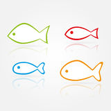 Vector fish silhouettes. Set of vector simple color fish silhouettes with reflections Royalty Free Stock Image