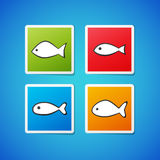Vector fish stickers. Set of clean color vector fish sticker icons Royalty Free Stock Photo