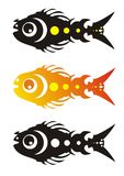 Vector fish (three variants). The animation stylized fish in a black-and-white variant, in fiery style and black with yellow circles Stock Images
