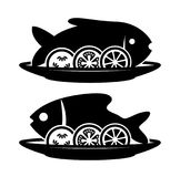 Vector  fish and  vegetables on a plate. Vector cooked fish and raw vegetables on a plate with fork and knife. black and white icon of carp or bream fish with Royalty Free Stock Images