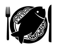 Vector  fish and  vegetables on a plate. Vector cooked fish and raw vegetables on a plate with fork and knife. black and white icon of carp or bream fish with Royalty Free Stock Photos