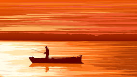 Vector fisherman against orange sunset. Stock Photography