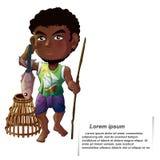 The vector fisherman in cartoon style. vector illustration