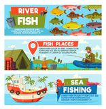 Vector fisherman on fishing cartoon banners. Fisherman on lake or river for big fish catch fishing. Vector cartoon banners of fisher man in boat or ship in sea Royalty Free Stock Images