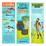 Vector fisherman and fishing equipement banners. Fishing and fisherman banners of fisher with fish catch and equipment. Vector design of fishing rod and Royalty Free Stock Image
