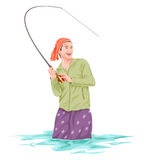 Vector of fisherman fishing. Stock Photos